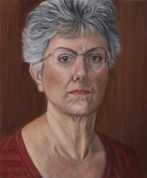 Self Portrait, oil on board, 12 inches x 10 inches