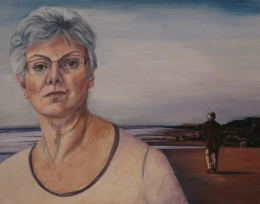 Self Portrait (Memory of walks with my father on the beach), oil on board, 16 inches by 20 inches